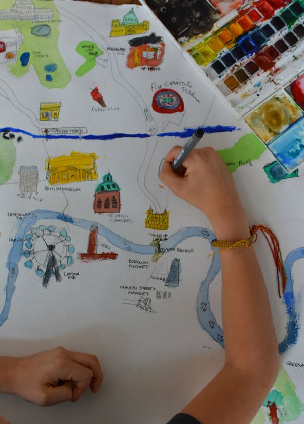 600x837 Draw A Map Of Your City Watercolor, City And Detail