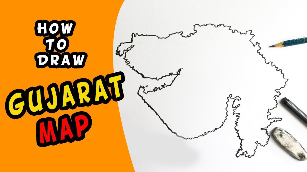 1280x720 How To Draw Gujarat Map (In India) Drawing For Kids