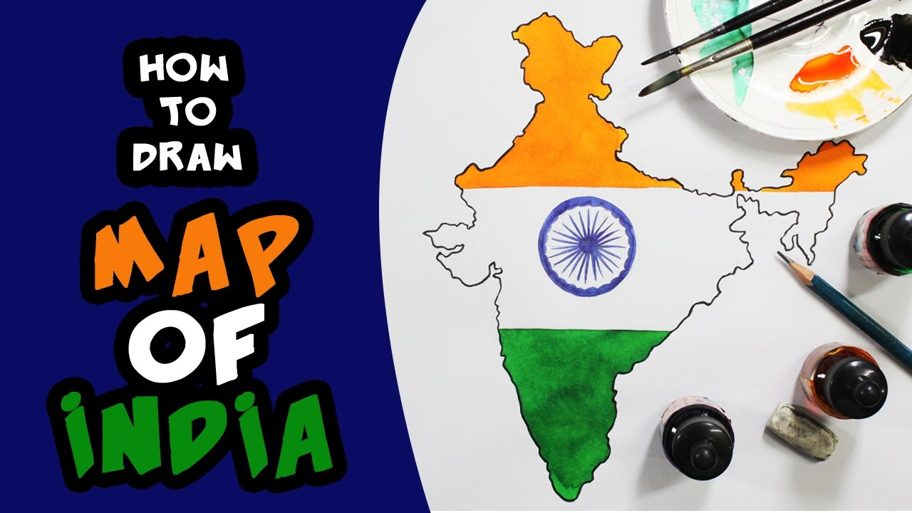 1280x720 How To Draw The Map Of India (With Flag) For Kids Step By Step