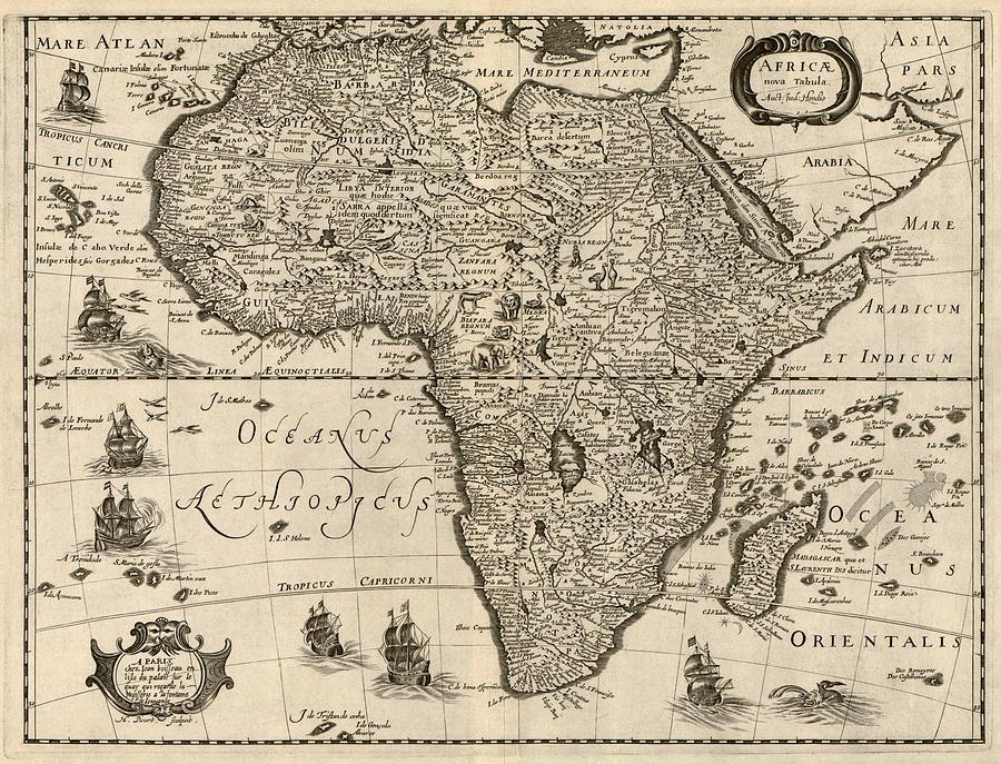 900x687 Antique Map Of Africa By Jodocus Hondius