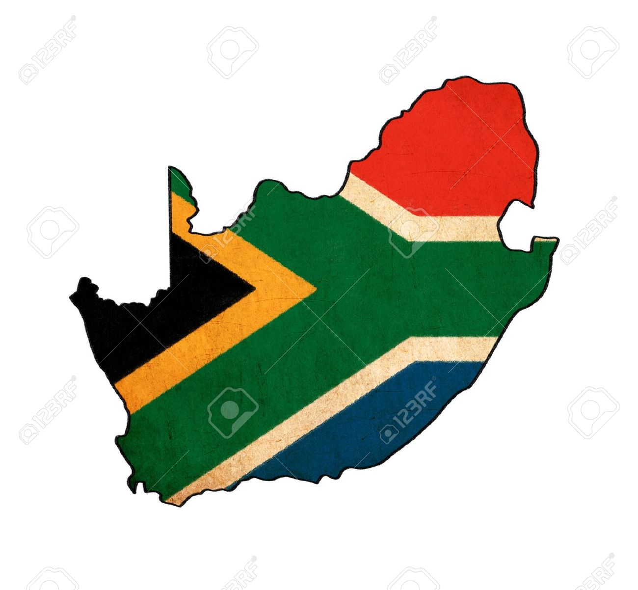 1300x1202 South Africa Map On South Africa Flag Drawing ,grunge And Retro