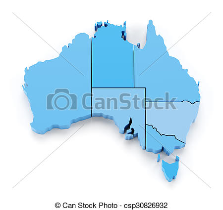 450x425 Extruded Map Of Australia With State Borders, 3d Render Drawings