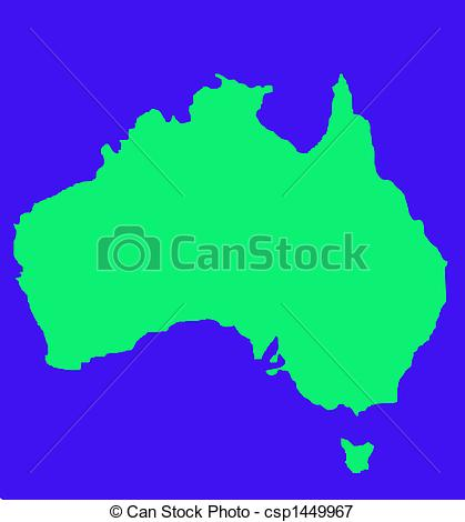 419x470 Outline Map Of Australia And Tasmania In Green, Isolated