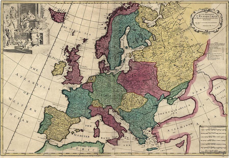 900x623 Antique Map Of Europe By John Senex