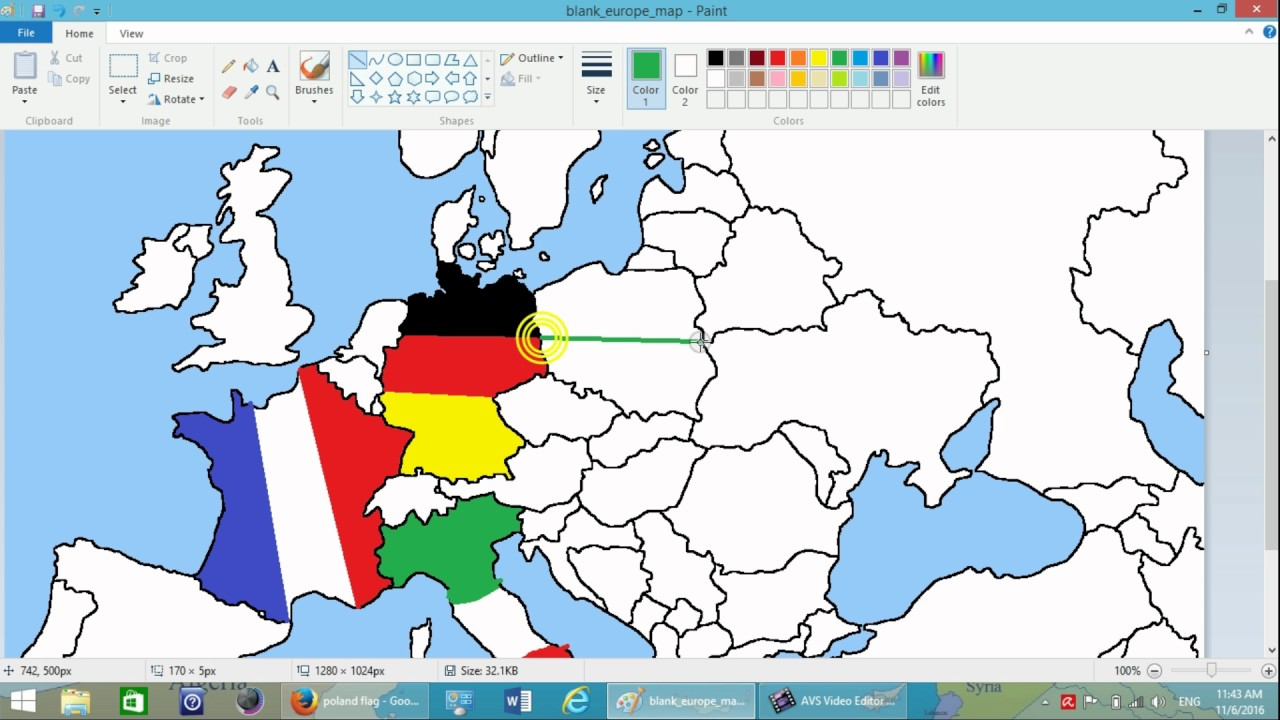 1280x720 drawing european flags on empty map