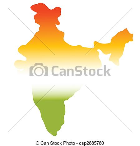450x470 Map Of India In Tri Colours, Green, White, Orange Stock