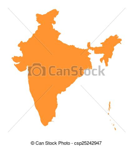427x470 Orange Map Of India Eps Vector