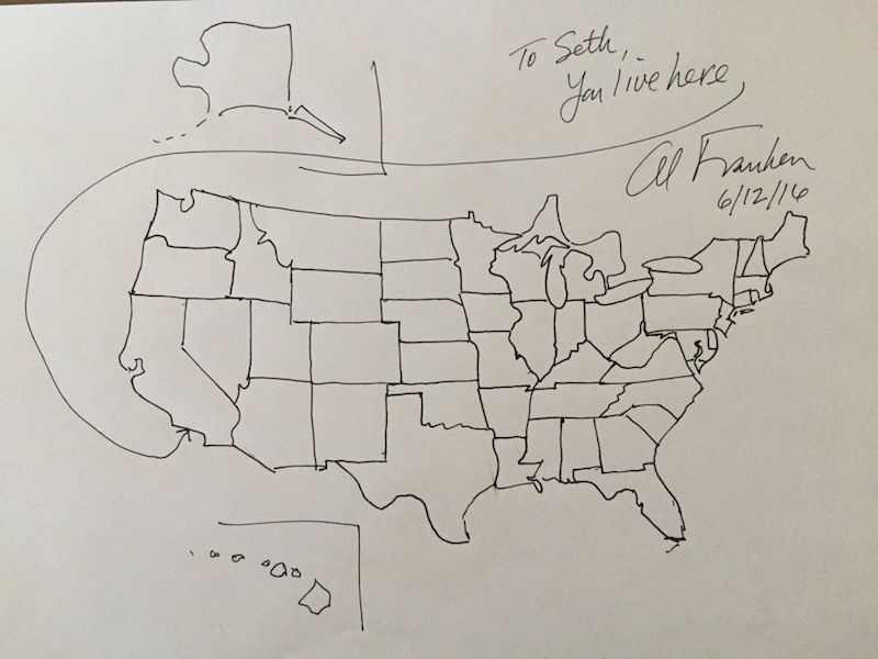 800x600 Al Franken's Freehand Drawing Of The United States Map From Memory