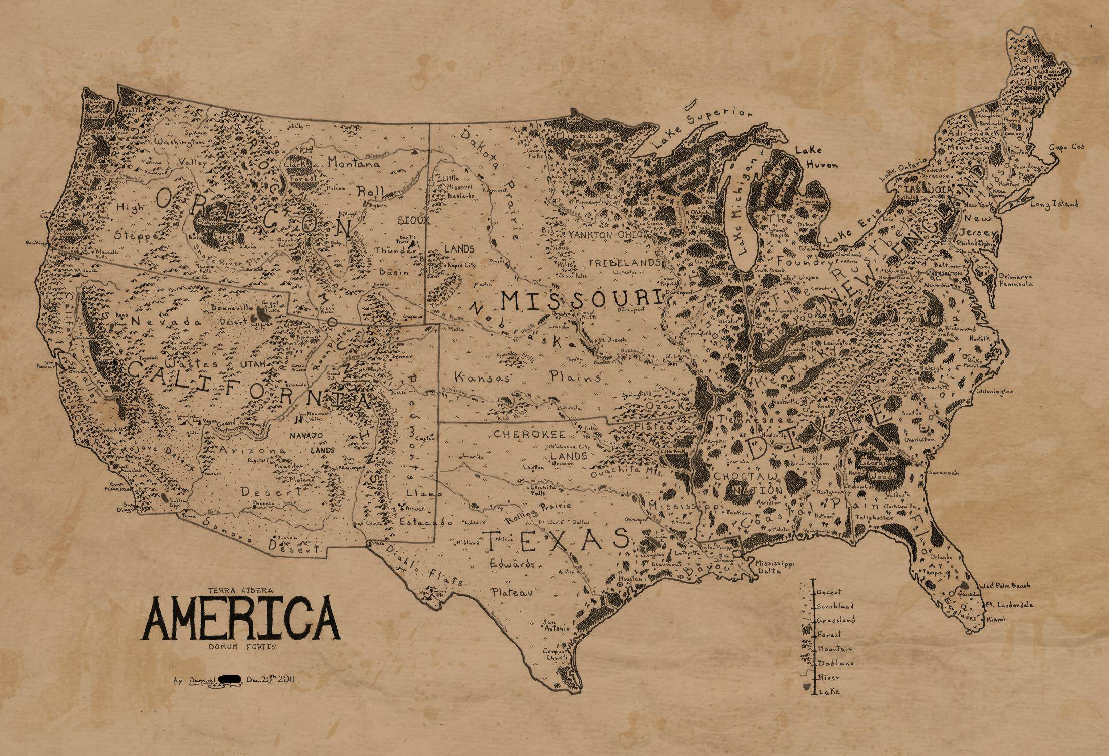 2200x1500 A Map Of The United States, Drawn In The Style Of Lord Of The