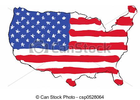 450x324 Usa Mapflag. Usa Map With Flag In It Hand Painted In Drawing