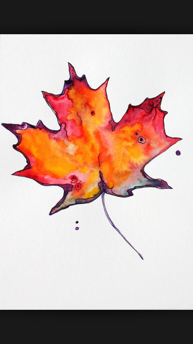 640x1136 Maple Leaf Water Colour Tattoo. I Love This One! Inked