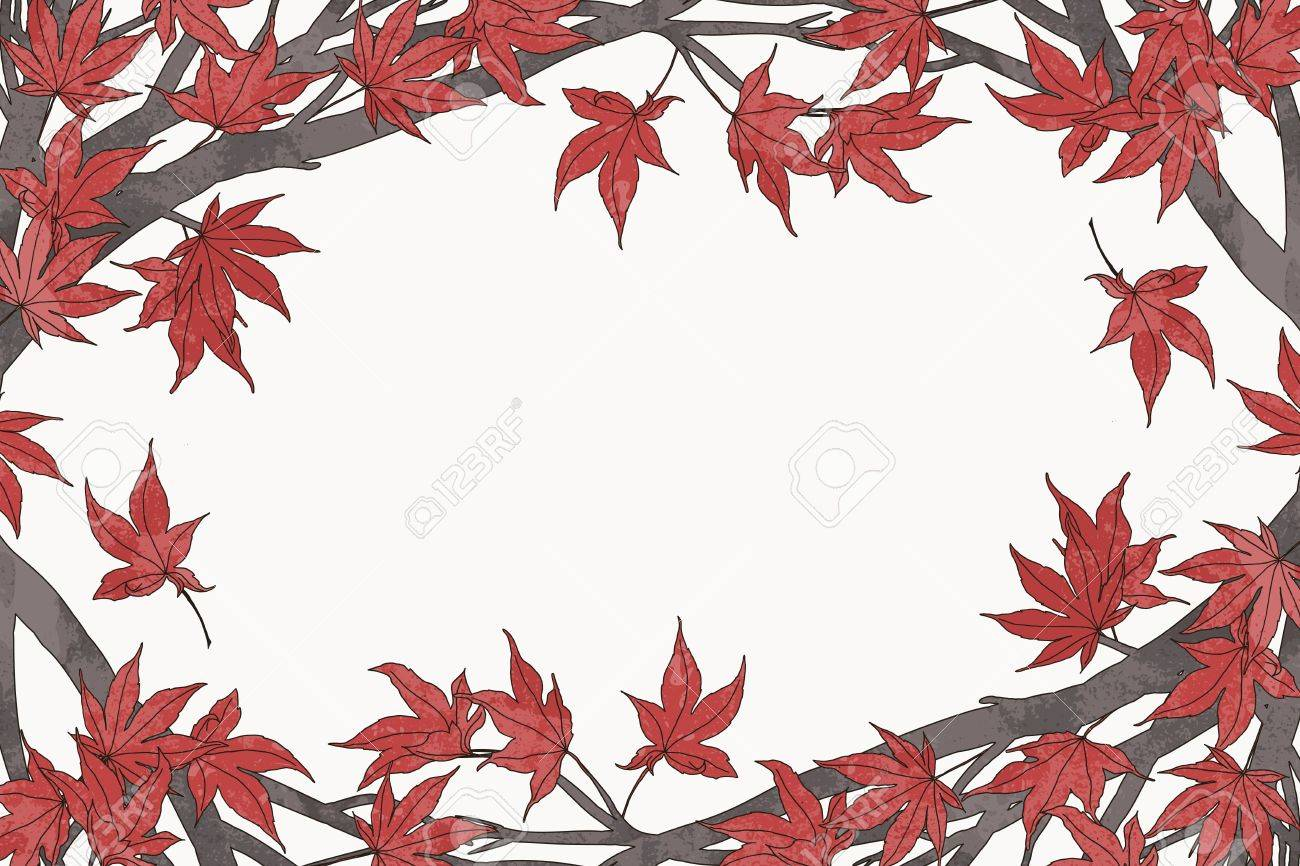 1300x866 Hand Drawn Autumn Frame Template With Red Japanese Maple Leaves