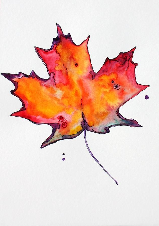 633x900 Leaf Drawings Maple Leaf Painting By Pat Purdy