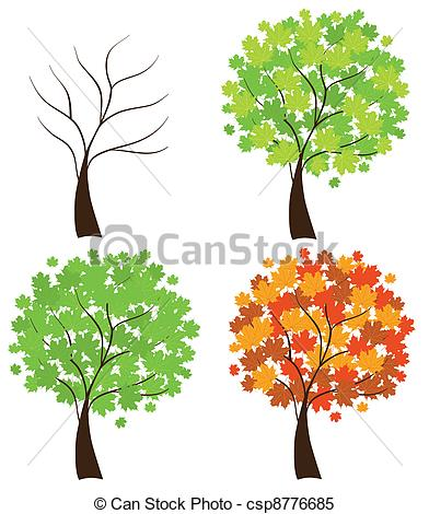 392x470 Vector Set Of Maple Trees Clipart Vector