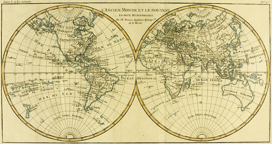 900x478 Map Of The World In Two Hemispheres Drawing By Guillaume Raynal