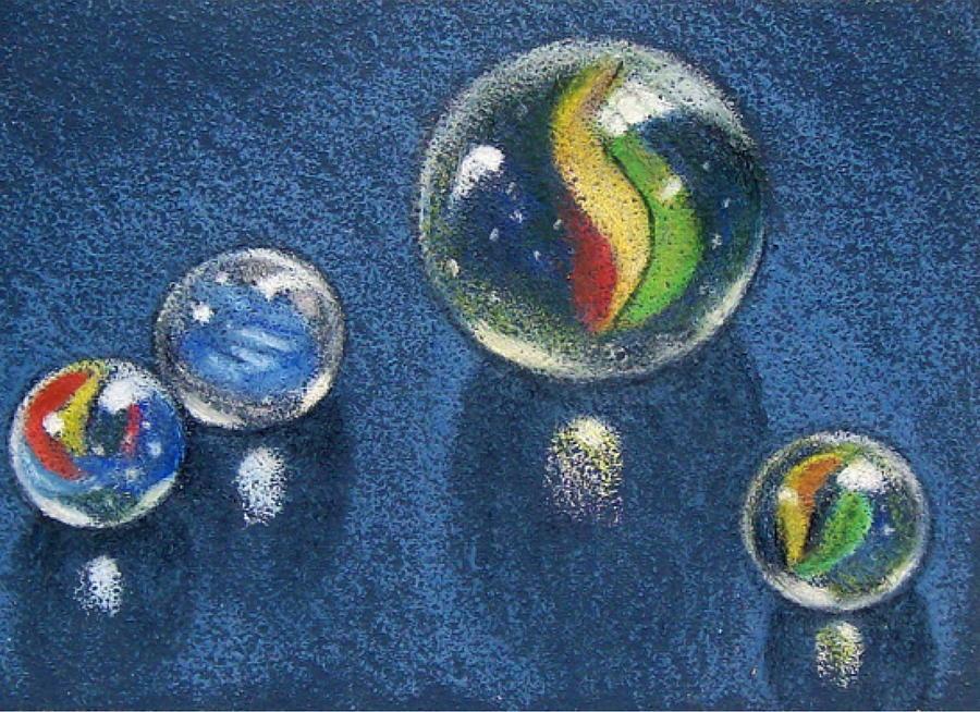 900x654 Four Marbles Drawing By Joyce Geleynse