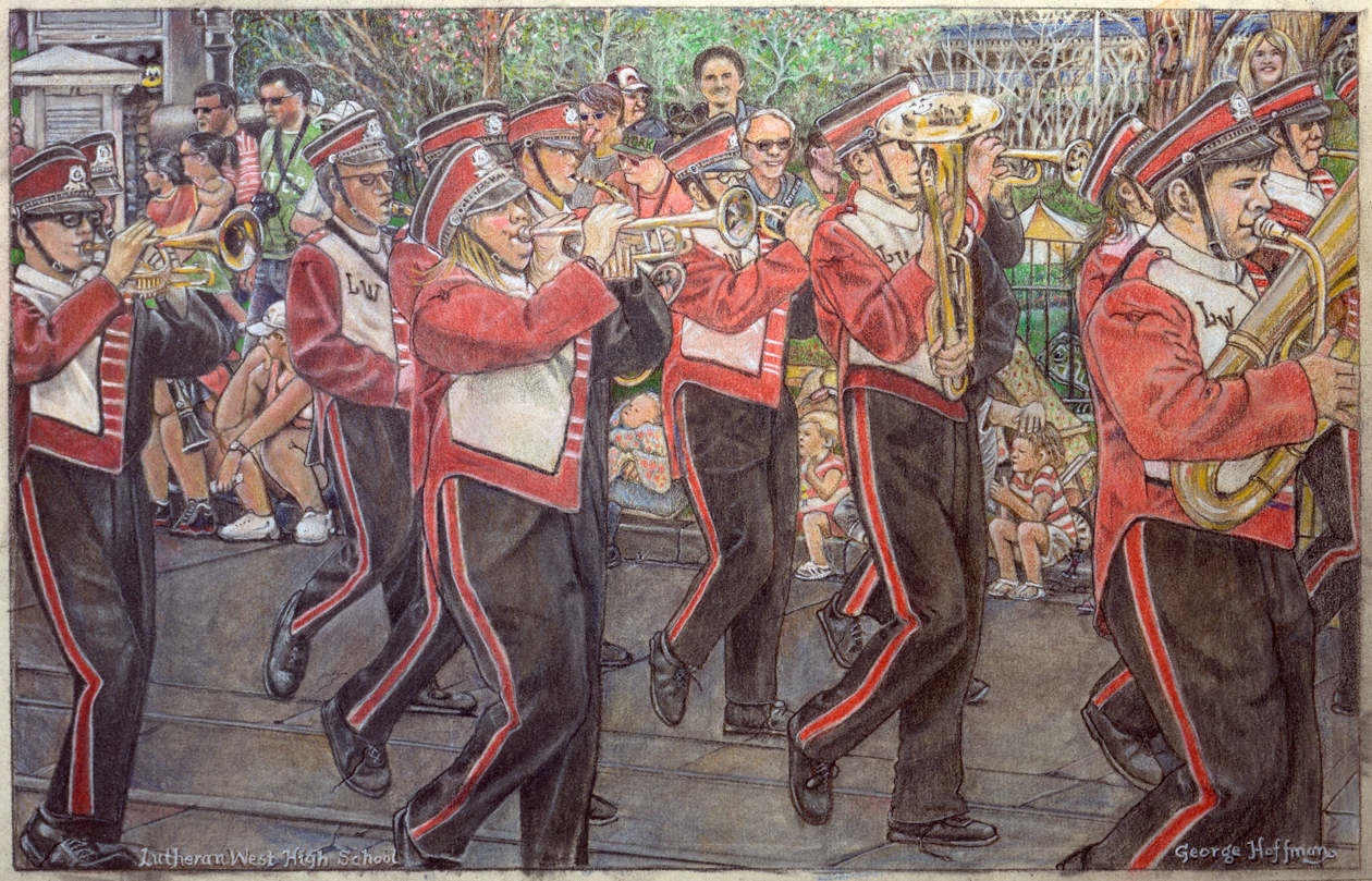1260x809 Lutheran West High School Marching Band A Colored Pencil Drawing