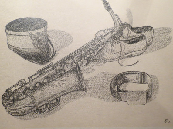 570x427 Original Pencil Drawing Of Saxophone Marching Band Hat
