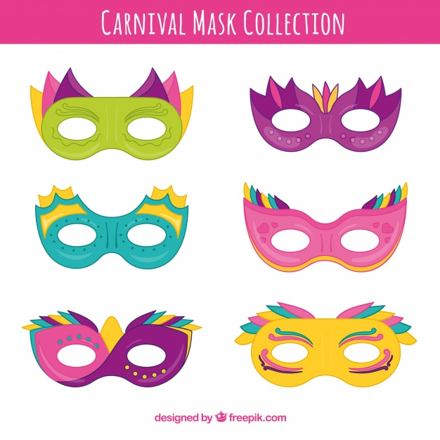 626x626 Hand Drawn Carnival Mask Collection Vector Free Download