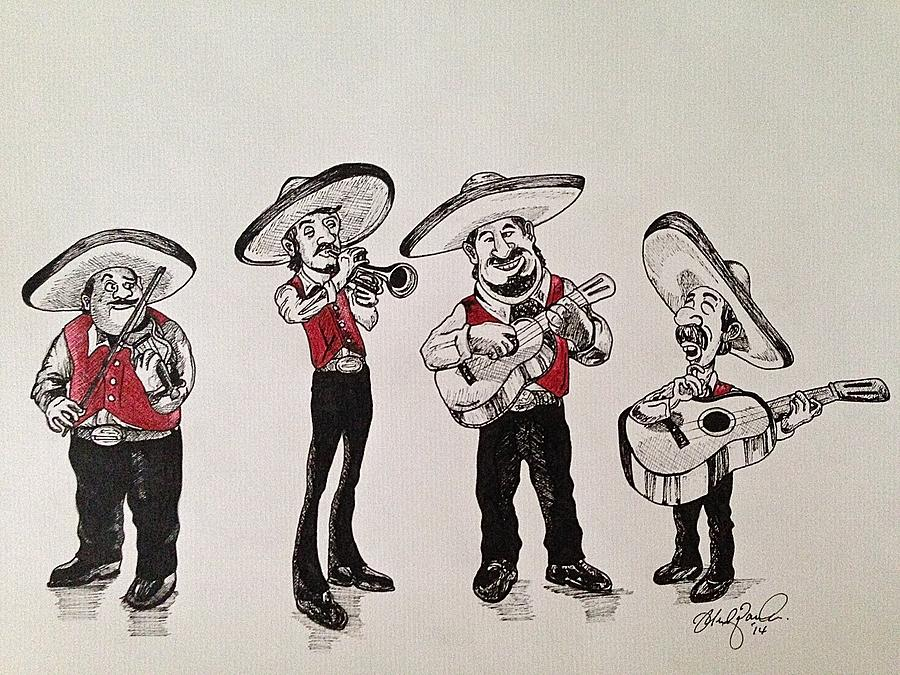 900x675 Mariachi Drawing By Michael Parrella