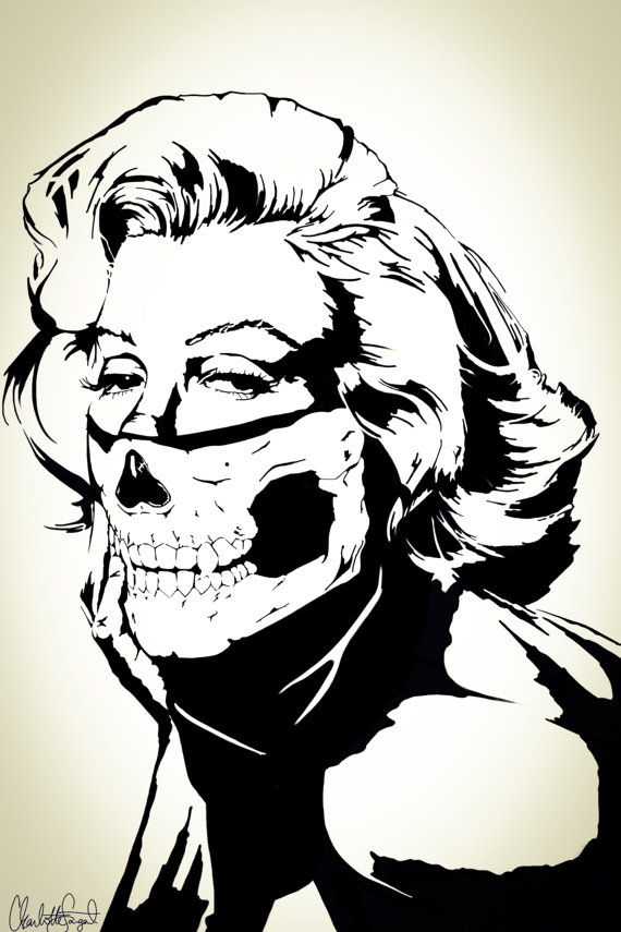 570x855 Marilyn Monroe + Skull Bandana Balaclava Boho Decor