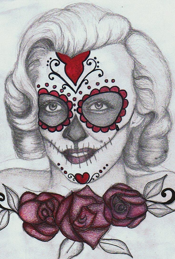 735x1088 Marilyn Monroe Sugar Skull By Prettyodd09