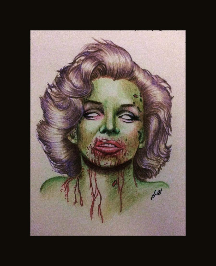 900x1110 Marilyn Monroe Zombie By Laart39