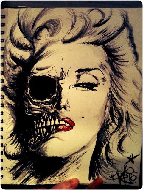 480x640 Marilyn Monroe Skull By Krislikk666