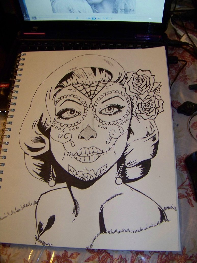 774x1032 Marilyn Monroe Sugar Skull Line Work By Mandykat