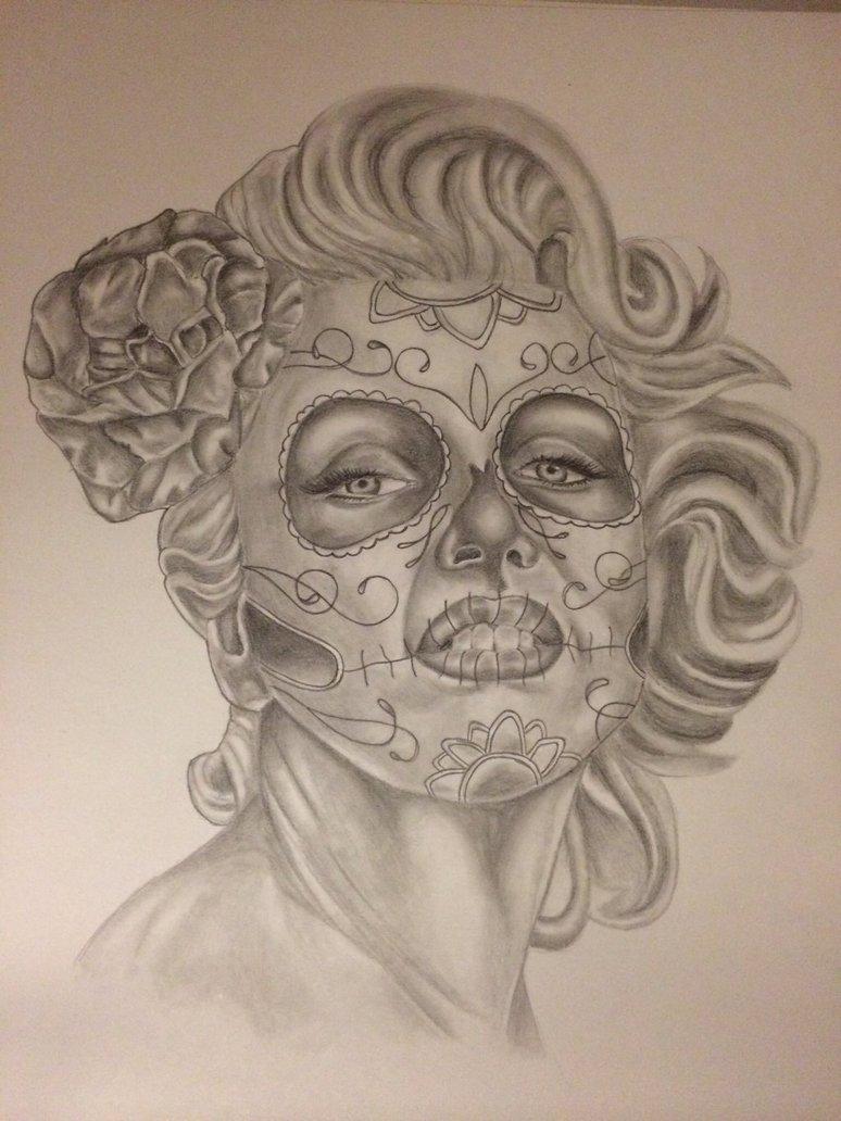 774x1032 Sugarskull Drawing Of Marilyn Monroe. By Mariiel0