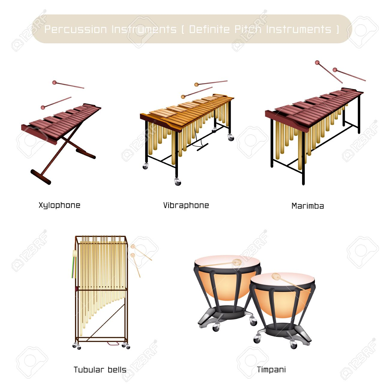 1300x1300 Illustration Brown Color Collection Of Vintage Percussion