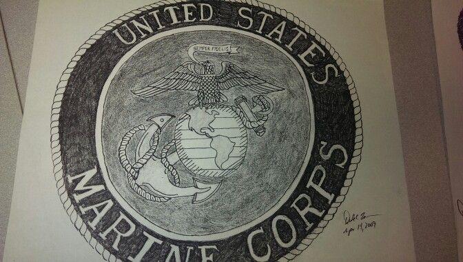 672x380 Marine Corps Emblem Drawings Marine Corps Emblem