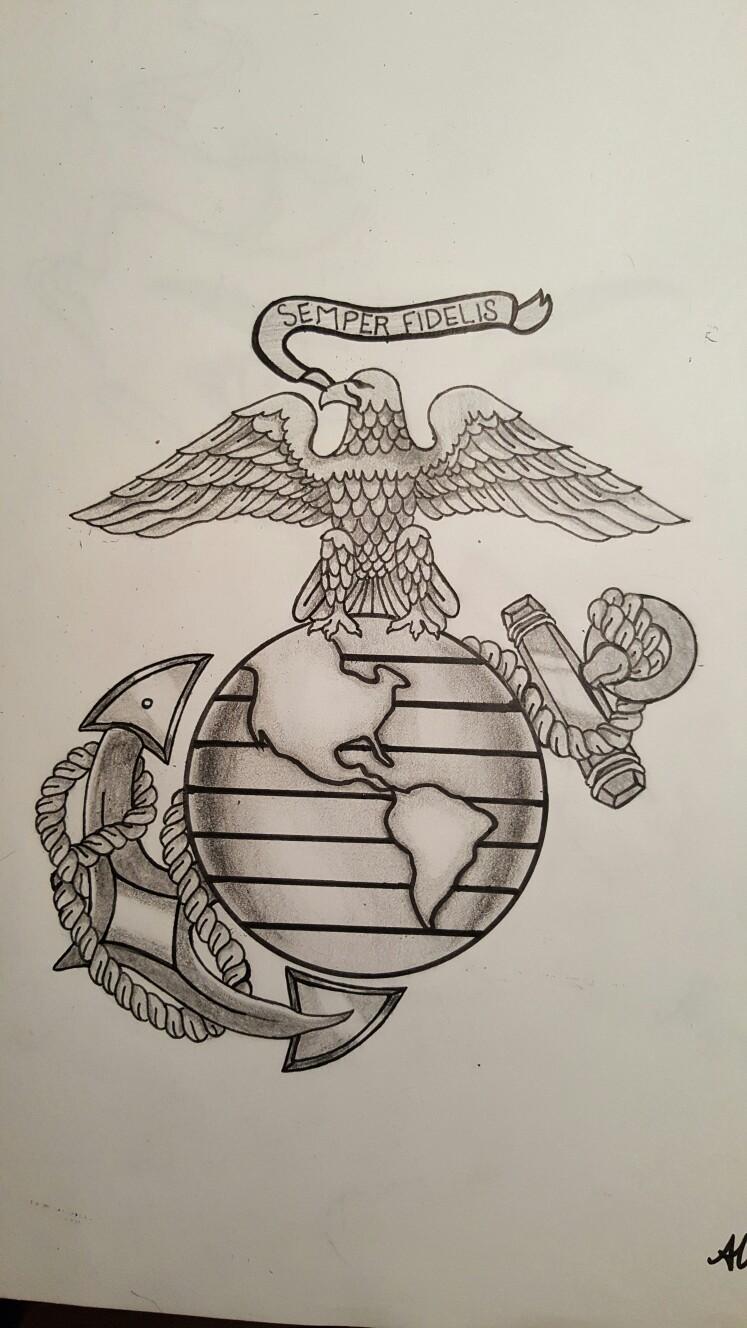 747x1328 My Original Drawing Of A Marines' Tattoo. Semper Fi. Original
