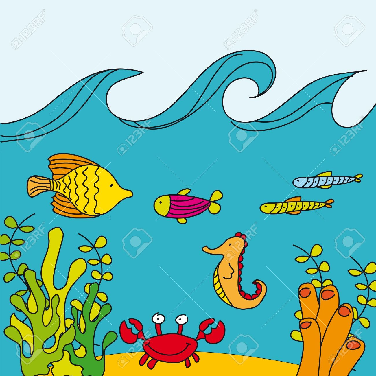 1300x1300 Cute Reef With Marine Animals, Hand Drawing. Vector Royalty Free
