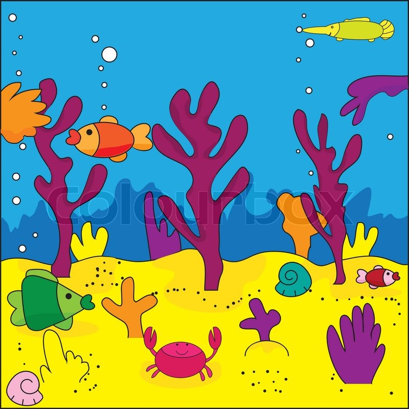 800x800 Cute Illustration Of Sea Life, Marine Life, Vector Stock Vector