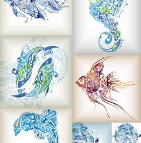 276x280 Marine Life Drawing Colorful Handdrawn Fish Icons Vector Abstract