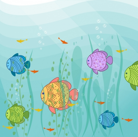 468x467 Marine Life Drawing Colorful Handdrawn Fish Icons Vectors Stock