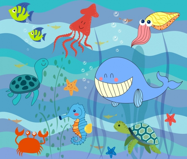 600x509 Marine Life Drawing Ocean Creature Icons Stylized Design Free