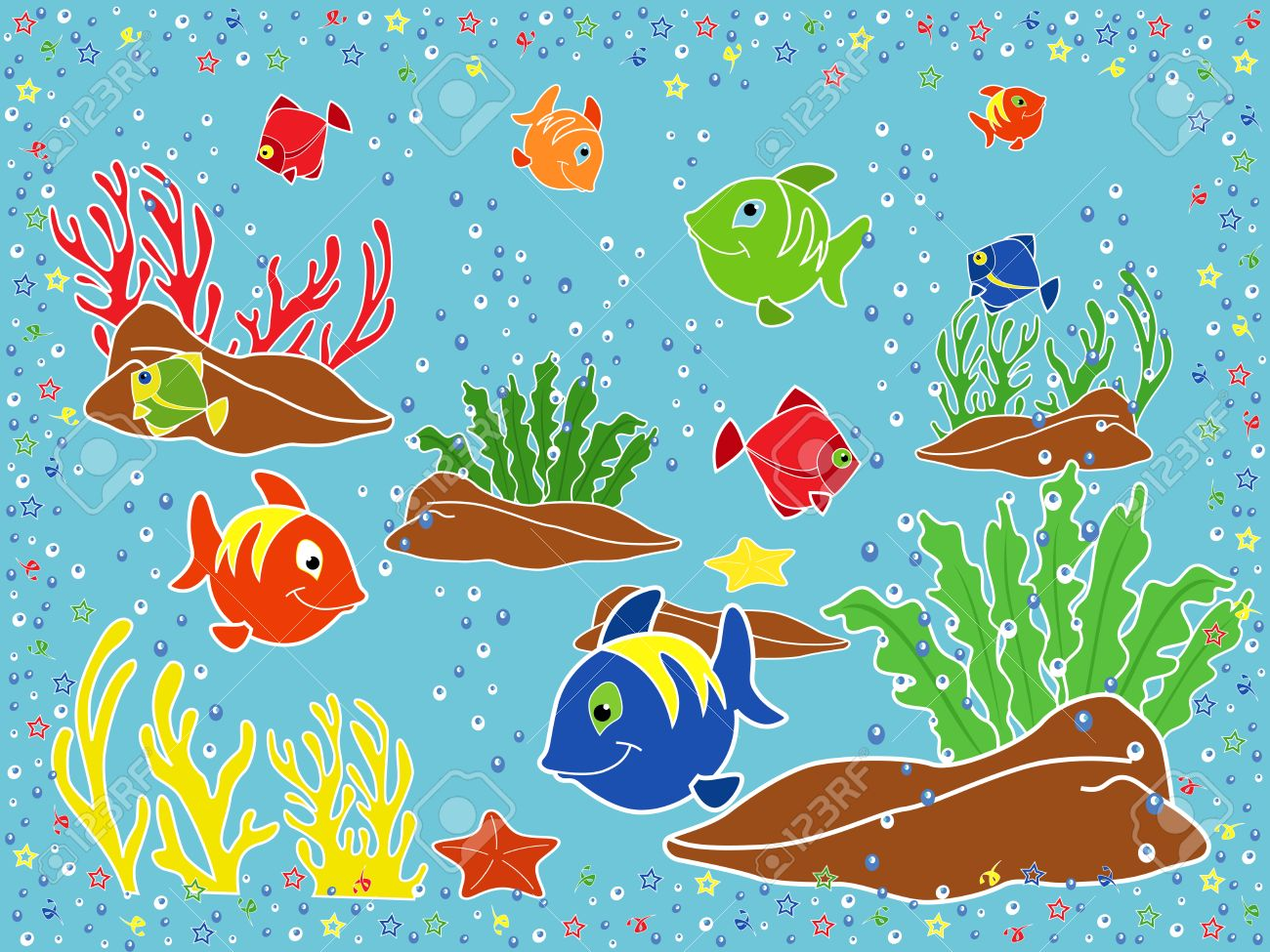 1300x975 Underwater Marine Life Fishes, Coral, Starfish And Seaweed