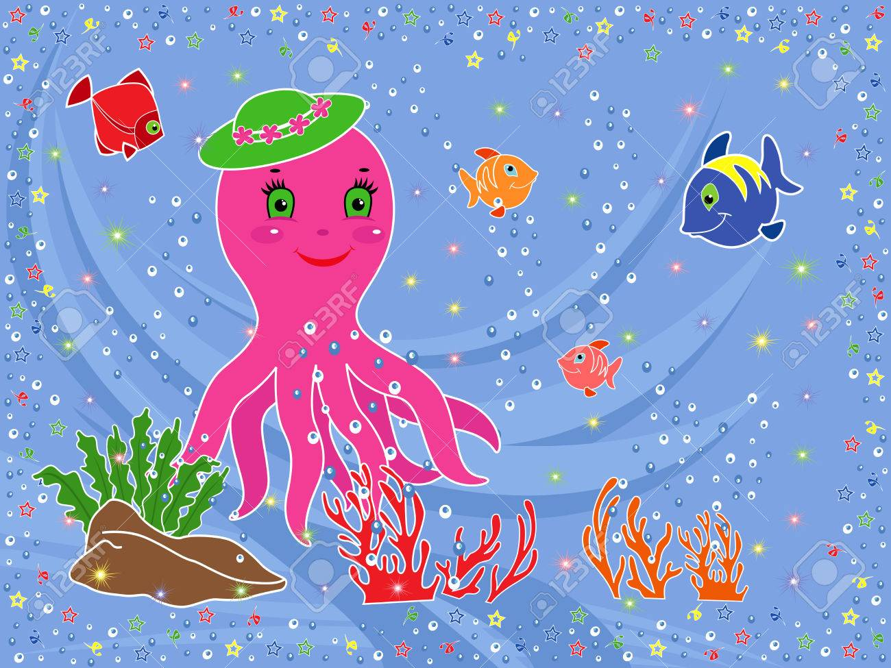 1300x975 Underwater Marine Life Funny Octopus, Fishes, Coral And Seaweed