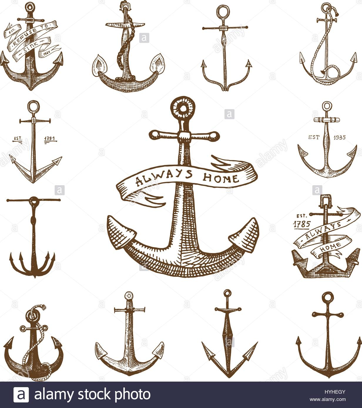 1232x1390 Anchor Engraved Vintage In Old Hand Drawn Or Tattoo Style, Drawing