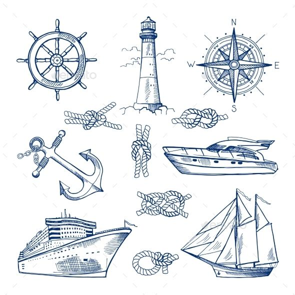 590x590 Marine Doodles Set With Ships, Boats And Nautical Items Marines