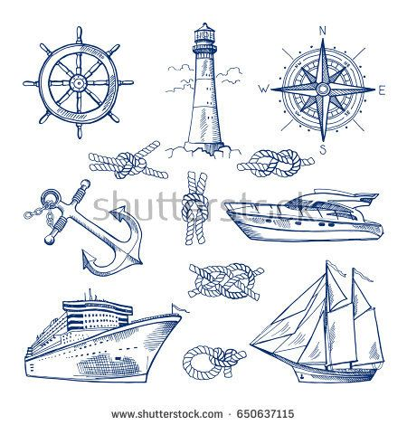 450x470 Marine Doodles Set With Ships, Boats And Nautical Anchors. Vector