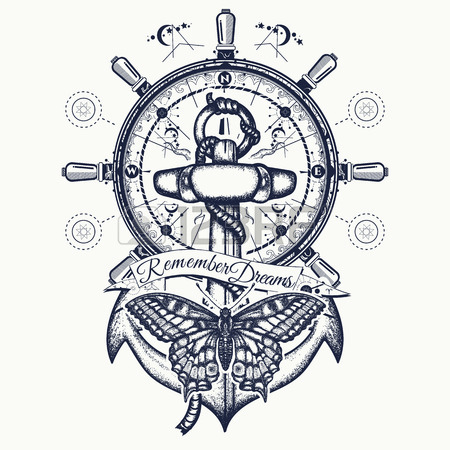 450x450 Anchor, Steering Wheel, Butterfly, Tattoo Art. Symbol Of Freedom