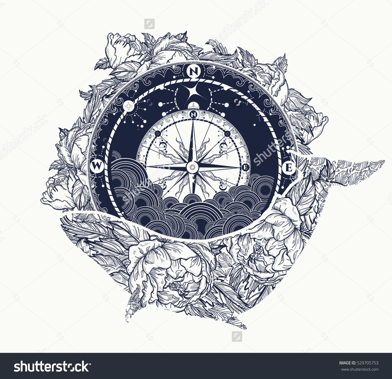 1500x1450 Antique Compass And Floral Whale Tattoo Art. Mystical Symbol