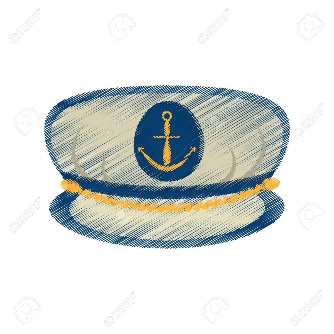 1300x1300 Drawing Marine Cap Captain Board With Anchor Vector Illustration