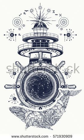 281x470 Lighthouse And Floral Whale Tattoo Art. Mystical Symbol