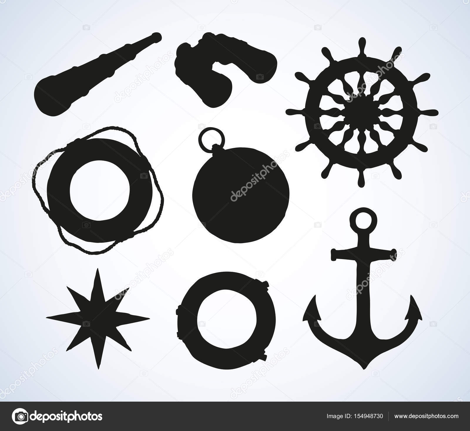 1600x1467 Marine Symbols. Vector Drawing Stock Vector Marinka