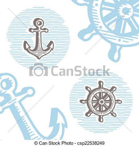 450x470 Vintage Marine Symbols Vector Icon Set Engraving Anchor