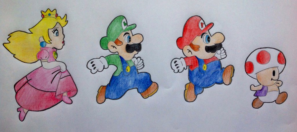 1024x457 Mario, Luigi, Peach And Toad By Simply Drawing